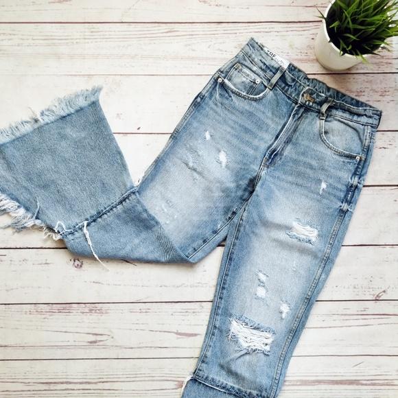 0dd54051 Zara Jeans | Denim Trf Ixd Makers Ripped Flared 00 | Poshmark